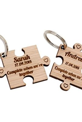 2-x-Personalised-Jigsaw-Puzzle-Piece-Wooden-Keyrings-Each-Engraved-with-a-Name-Date-0