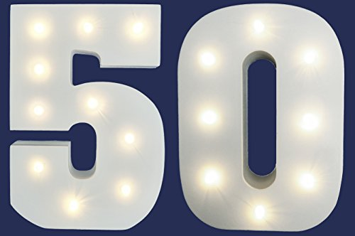 50th Birthday 50th Golden Wedding Anniversary LIGHT UP Numbers Party Lights