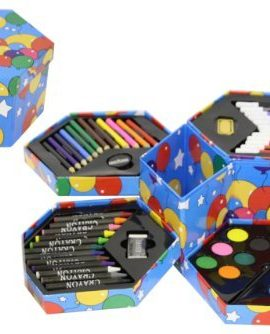 Childrens-52-Pcs-Craft-Art-Artists-Set-Hexagonal-Box-Crayons-Paints-Pens-Pencils-0