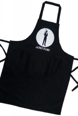 Licence-to-Grill-James-Bond-007-Novelty-Apron-for-Men-Women-BBQ-or-Kitchen-Fantastic-Gift-0
