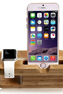 SENHAI-Wood-2-in-1-Charging-Dock-Stand-Station-Stock-Cradle-Holder-Bracket-Accessory-for-Apple-Watch-iWatch-38mm-and-42mm-iPhone-5-5s-6-iPhone-6-PlusBamboo-0