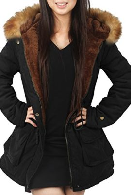 4How-Parka-Coat-With-Hood-for-Women-Black-Army-green-UK-Size-10-12-14-16-18-0