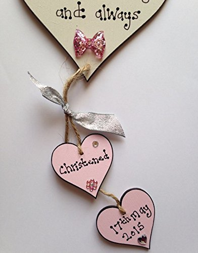 Handmade Baby Gifts Uk : Baby girl wooden heart christening plaque gift
