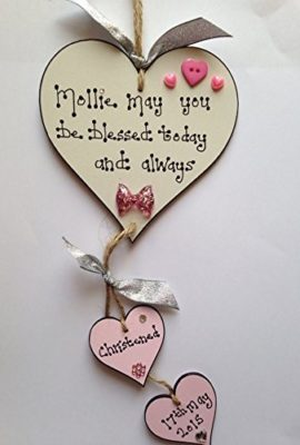 Baby-Girl-Wooden-heart-Christening-Plaque-gift-Personalised-Handmade-sign-Baby-Boy-0