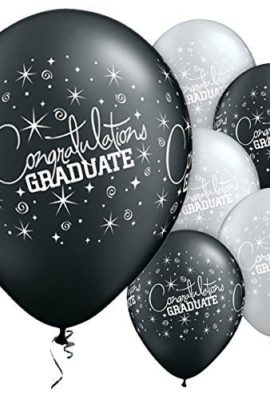 CONGRATULATIONS-GRADUATE-Assorted-Pearl-Onyx-Black-and-Silver-printed-latex-balloons-by-Qualatex-Pack-of-5-0
