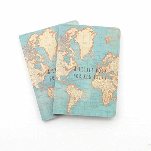 A little book for big ideas pocket notepad x 2 vintage world map world map design with gift tag previous next gumiabroncs Images