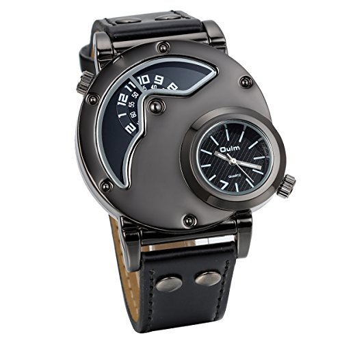 JewelryWe Mens Large Face Dual Time Military Style Watches ...