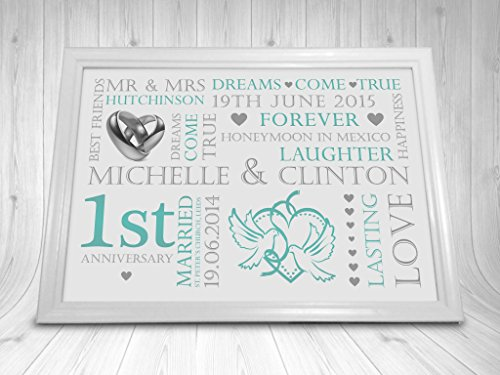 Personalised 1st Wedding Anniversary Gifts: Personalised 1st Wedding Anniversary Gift