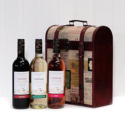 18th Wedding Anniversary Gift Ideas For Her: Versare Wine Selection Wooden Replica Vintage Chest Gift