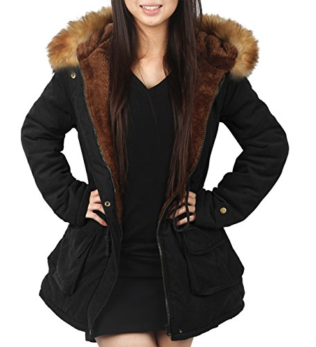 4how parka coat with hood for women black army green uk size 10 12 14 16 18. Black Bedroom Furniture Sets. Home Design Ideas