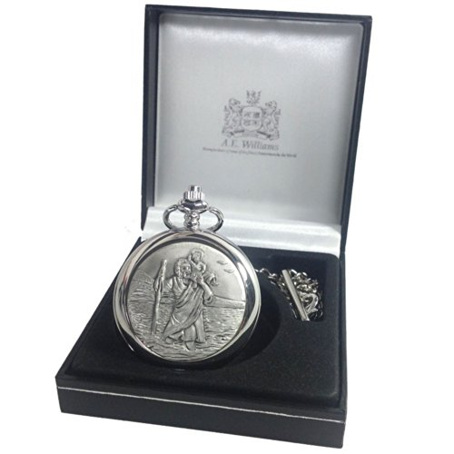 Boys Christening Gift Engraved St Christopher Pocket Watch in a Quality Presentation Box Boy Christening Gift Christening Gift Ideas 0