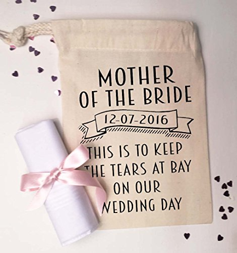 Gift From Bride To Mother: Mother Of The Bride Small Gift Bag And Cotton Handkerchief