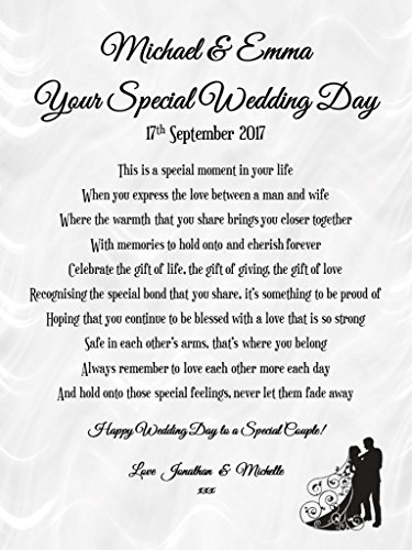 Personalised Wedding Poem Card Amp Heart Plaque Gift Set