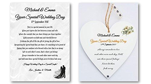 Personalised Wedding Poem Card Heart Plaque Gift Set Bride